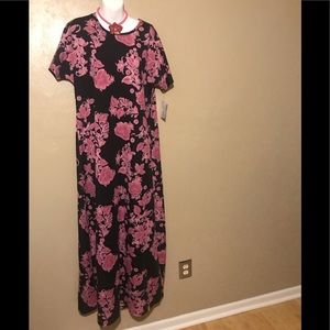 "LuLaRoe ""Maria"" black/pink flowered dress size XL"